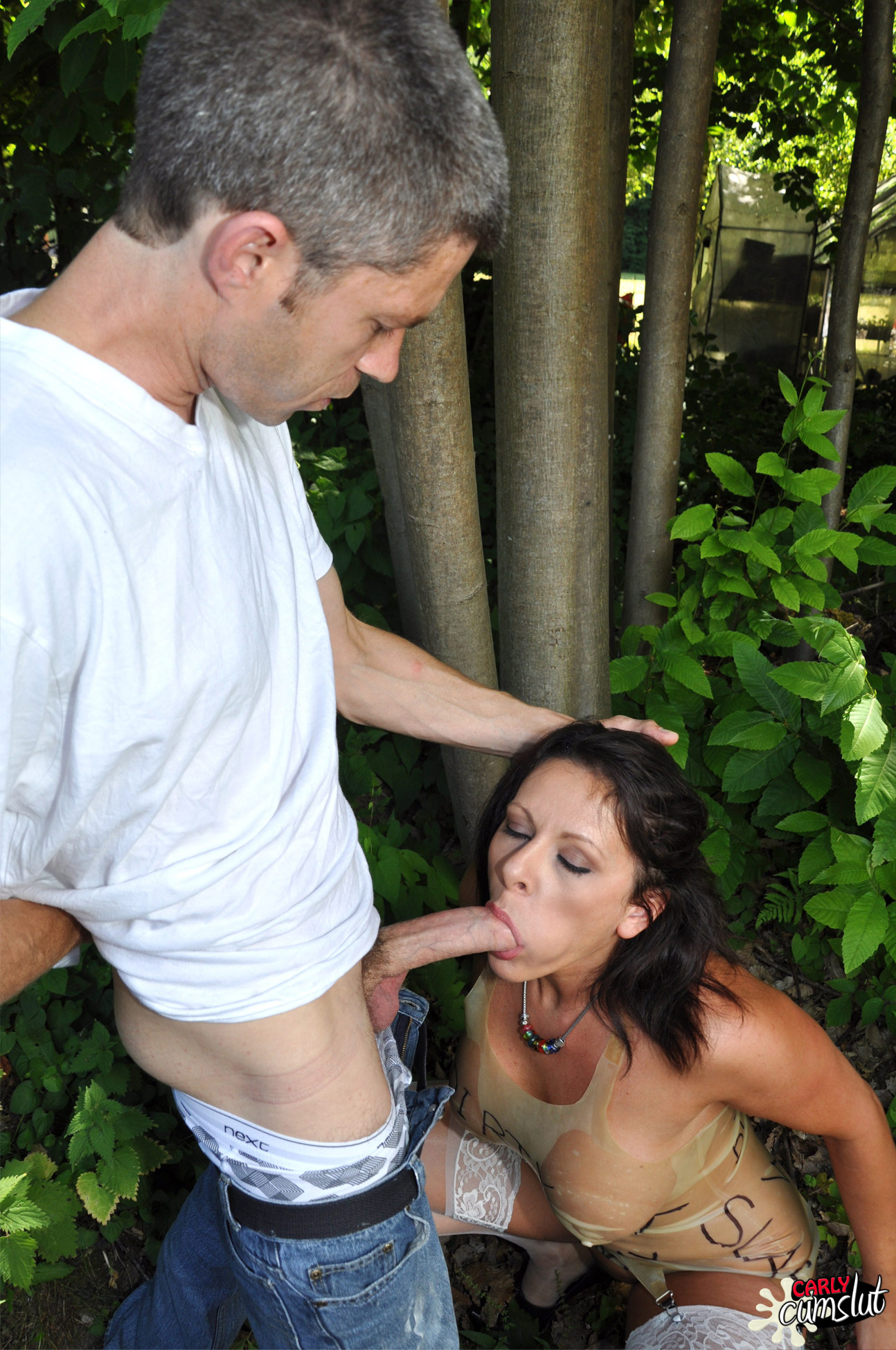 Teen girl strips outdoors