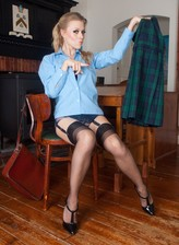 Frisky British coed flashes her retro sheer panties and dark FF stockings
