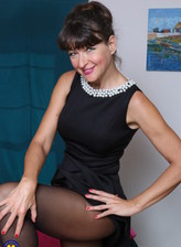 Dressy USA mature Gina strips her LBD and matching sheer-to-waist tights for some naked dildo toying