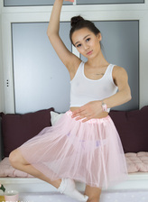 Nubile ballerina Elisia peels her cute panties and dances all nude showing it all