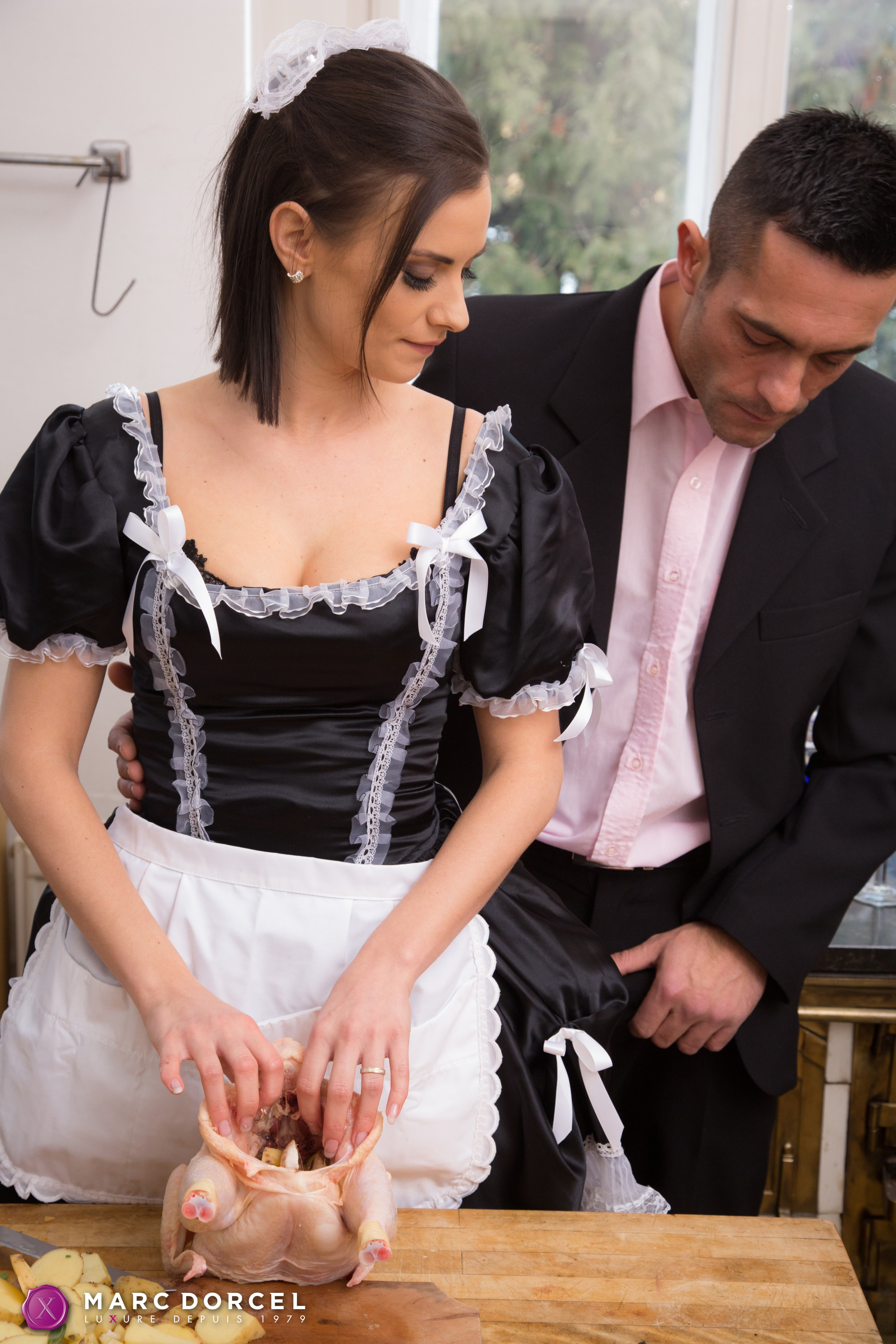 Sexy French maid Claire Castel gets a face fuck and doggie ...