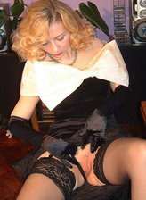 Dolled-up UK blonde starts dildo toying in her retro nylons and undies with elbow-long gloves