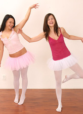 Two teen ballet dancers in white opaque crotchless pantyhose go lesbo