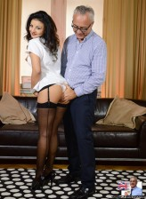 Hot-assed brunette Aysha banged by an older English gentleman right in her black FF stockings