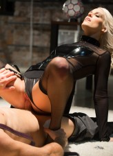 Black-stockinged blonde domina Blanche Bradburry keeps her slave on a leash while he fucks her