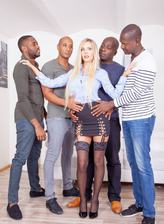 Four black studs for blonde nympho Florane Russell