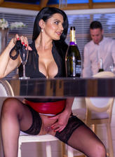 Busty cougar Ania Kinski drops her panties luring a waiter into a stockinged fuck