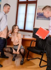 Filthy office babe Natasha Starr getting spit-roasted and DPed in her stockings, garters and heels