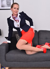 Horny Stewardess MILF Elegant Eve playing in her off time