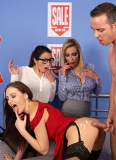 Chessie Kay & Valentina Bianco watch stockinged Tina Kay test-driving a new bed