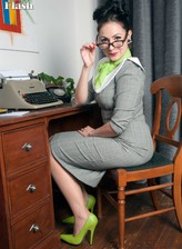 English office lady exposes her vintage lingerie and stockings