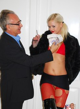 Cute blondie Zafira May in skimpy outfit and red fishnets fucked by old gent