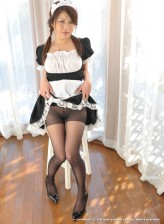 Japanese maid exposes her shaved pussy thru ripped open pantyhose
