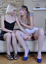 Strapon-armed ponytailed lass tongue kisses and fucks a hot mature lesbian