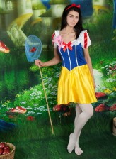 Stefany dresses like Snow White complete with cute white panties and pantyhose