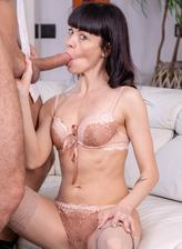 Sasha Colibri wears creamy lingerie and stockings under her LBD ready for anal