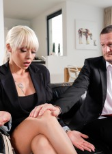 Busty blonde employee Christina Shine drops her office suit for a stockinged ride