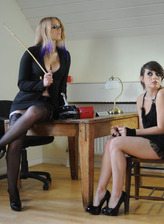 Stockinged Deputy gives good caning to an unruly female student