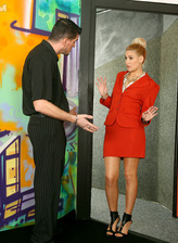 Stockinged Yenna gets her smart red business suit jizzed by a horny bartender