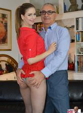 Red hot Brit Stella Cox rides old Jim in her tiny skirt and raunchy crotchless fishnet tights