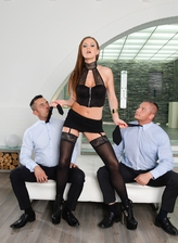 Dominative Tina Kay blindfolds two men with their ties opening her stockinged and booted legs for DP