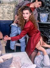 Red-hot minx in a fine lacy bustier and stockings gets all her cracks filled in a retro porn orgy