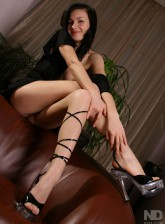 Brunette Ukrainian Tanya peels white panties parting legs in cross-tied sandals