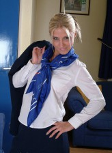 British air hostess Sarah Wright takes off her uniform to masturbate with her toy