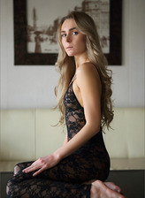 Ukrainian erotic nude Karissa Diamond strips her black lace footless bodystocking to show her goods