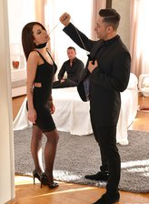 Held on a leash stockinged French belle Nikita Bellucci gets throated, spanked and DPed by two gents