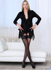 Foxy German milf Cam Angel wears all black stuffing a jelly toy between her legs in nylons and heels