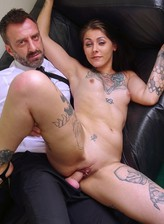 New sub slut Nayomi Sharp spreads her tattooed legs for a brutally rough fuck