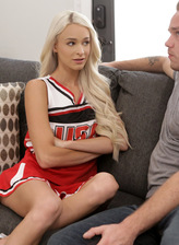 Slutty coed Emma Hix fucks her tutor and boyfriend in her cheerleader uniform