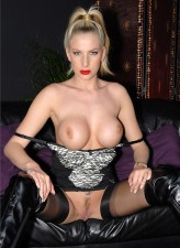 British mistress Danielle Maye masturbates in her classy FF stockings and thigh high boots