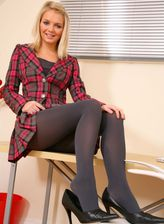 Blonde office babe gets to naughty upskirt tease in her dark opaque pantyhose