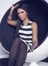 Tasty UK brunette Sam strips her stripy dress and cool stocking effect tights