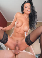 Busty mom in black stockings Shalina Devine gets creampie served with her coffee