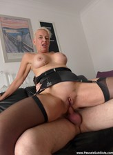 Blonde Scarla Swallows flashes big boobs and stockinged legs getting brutalized like a dirty whore