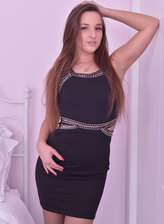 All dolled-up Amirah Adara peels off her LBD and tears her grey open-toe pantyhose for a pink dildo