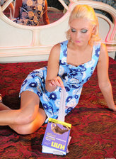 Adorable blonde masturbates in her white lace pattern pantyhose