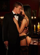Anna Rose succumb to sinful pleasures in the candlelit room in her beautiful lingerie and stockings