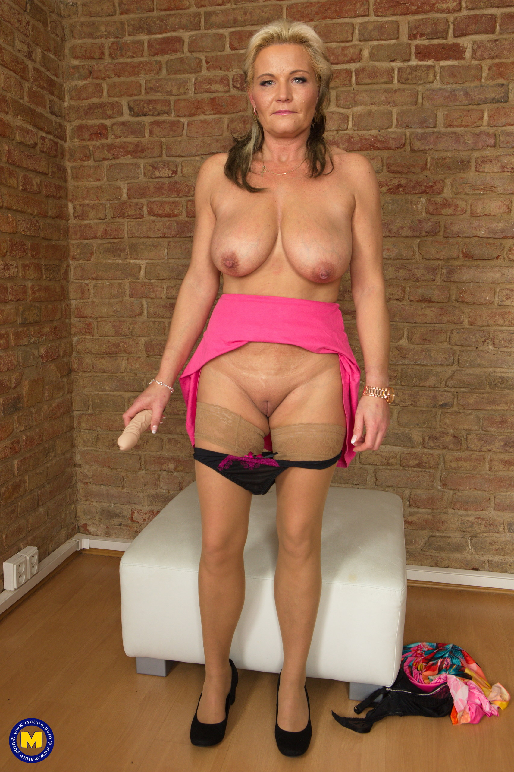 Sexy Mature Margaux M Dildo Toying In Tan Stockings-5284