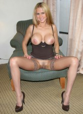Hot Wife Rio in stockings spreading legs