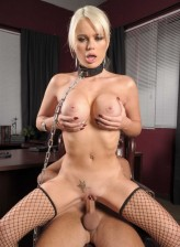 Busty secretary Alexis Ford kept on a chain and fucked in her slutty fishnets
