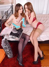Russian babes Leila Fiore & Lovenia Lux indulge their nylons-n-heels foot fetish