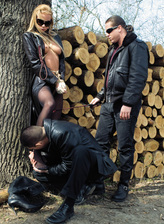 Collared sex-slave Angelina Love gets DPed thru her ripped tights after bondage