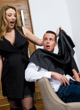Stockinged and booted barber Shauna Skye grooms, rides and milks a hung male