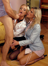 Two blondes Klarisa Leone and Cameron Gold clad in silky clothes drilled thru their shiny tights