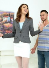 White-stockinged American milf Lola Vaughn milks a guy evaluating his real estate