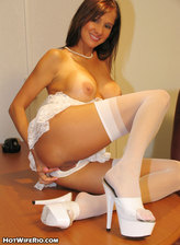 Tight busty brunette milf Rio in white nylon shows off folds